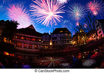 Strasbourg downtown France and fireworks at night