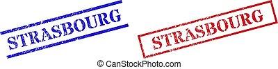 STRASBOURG Grunge Scratched Stamp Seals with Rectangle Frame