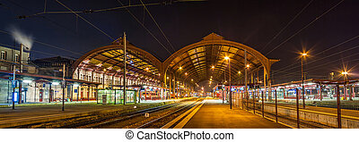 Strasbourg railway station at night. Alsace, France