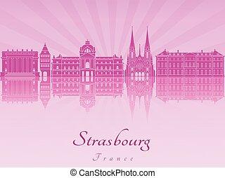 Strasbourg skyline in purple radiant orchid