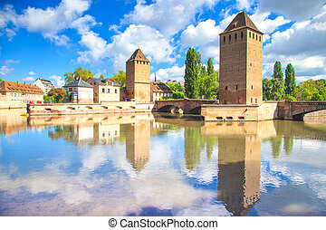 Strasbourg, tower of medieval bridge Ponts Couverts. Alsace, France.