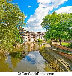Strasbourg, water canal in Petite France area. Half timbered...