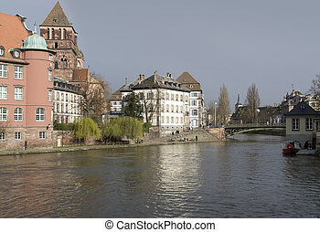riverside scenery in Strasbourg in rainy ambiance (Alsace/France)
