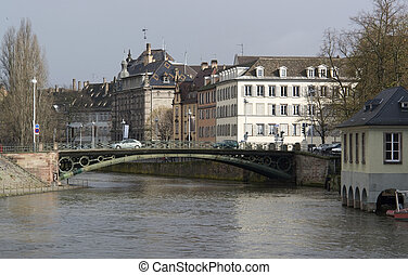 scenery in Strasbourg (Alsace/France) in rainy ambiance