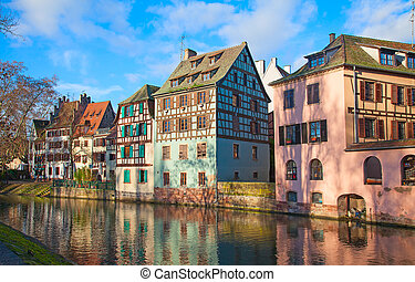 """Historic houses in the famous """"Petite France"""" district of Strasbourg"""