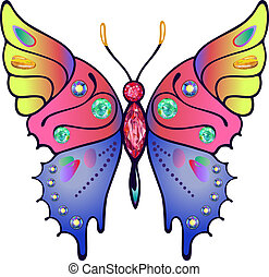Strass colored outlined butterfly - Butterfly colored gem...