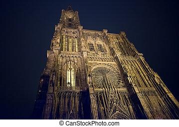 strassburg, notre, frankreich, elsaß, nacht, kathedrale, ...