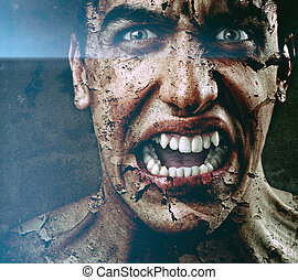 straszliwy, łuszczenie, skóra, pęknięty, sędziwy, spooky, człowiek