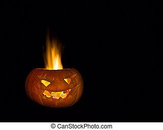 straszliwy, głowa, robiony, od, pumpkin., niejaki, prawdziwy, fire.