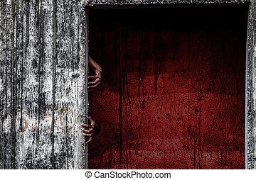 straszliwy, opuszczona budowa, z, krew, ściana, i, duch, ręka, kropiąc, od, niejaki, drzwi