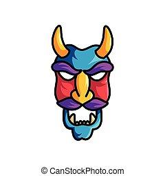 straszliwy, potwór, rogi, maska, żółty, fiołek, wąsy