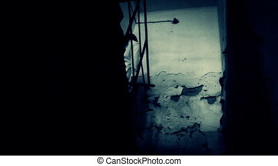straszliwy, przerażenie, kobieta, scena
