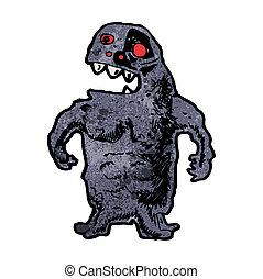 straszliwy, rysunek, potwór