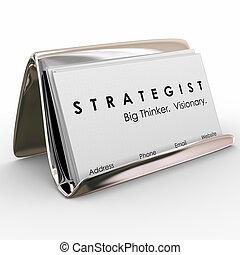 stratég, povolání, big, vizionářský, myslitel, karta, držák