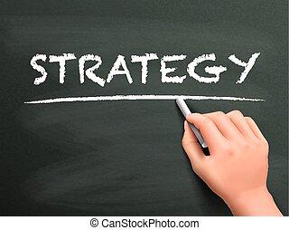 stratégia, írott, fogalom, kéz