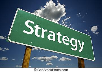 stratégia, út cégtábla