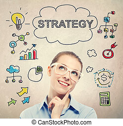 stratégia, fogalom, noha, fiatal, ügy woman