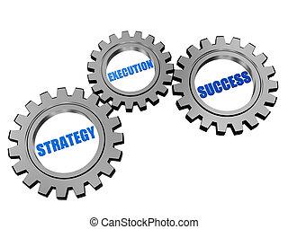 stratégia, kivégzés, siker, alatt, ezüst, szürke, fogaskerék-áttétel