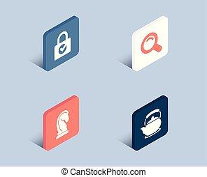 stratégie, chiffrement, signe., icons., commercialisation, recherche, théière, mot passe