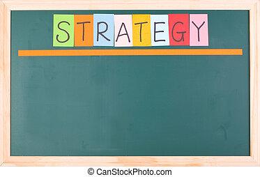 stratégie, coloré, mot, sur, vide, tableau noir