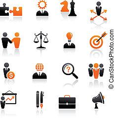 stratégie, ensemble, icones affaires