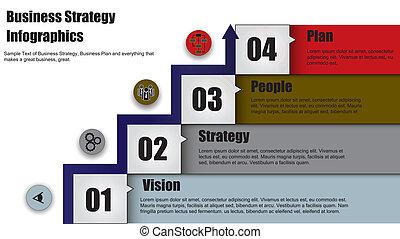 stratégie, flèche, étapes, business