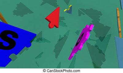 stratégie, puzzle, 3d, mot, former