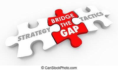 stratégie, tactique, action, plan, illustration, trouée, pont, 3d