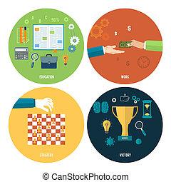 stratégie, victory., travail, education, icônes