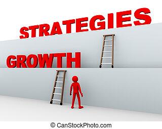 stratégies, croissance, 3d, homme