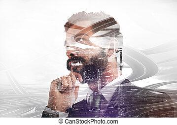 stratégies, pense, nouveau, homme affaires