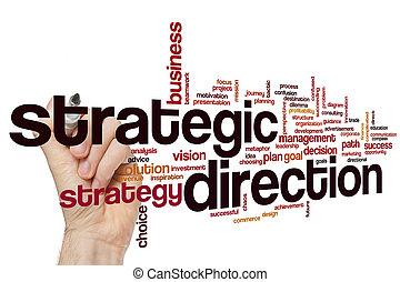 stratégique, direction, mot, nuage