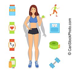 strata, ciężar, ilustracja, wektor, dieta, sport