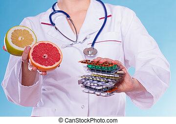 strata, kobieta, ciężar, grapefruits., pigułki diety