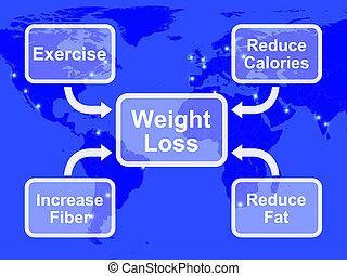strata, włókno, ciężar, pokaz, kalorie, tłuszcz, diagram, ...