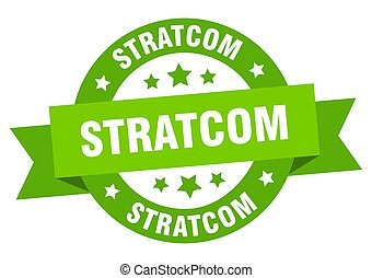 stratcom round ribbon isolated label. stratcom sign