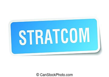 stratcom square sticker on white