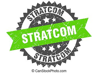 stratcom stamp. round grunge sign with ribbon
