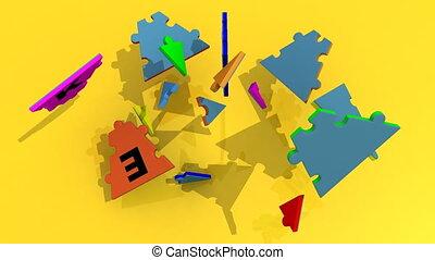 strateg, former, puzzle, titre, 3d