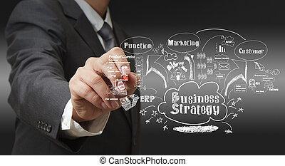 strategi, man, skrift, affär