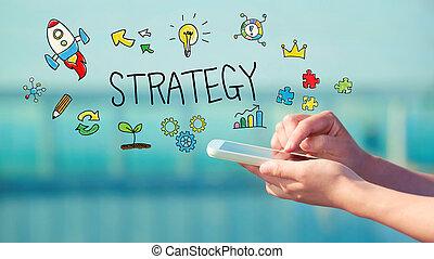 strategi, smartphone, begrepp
