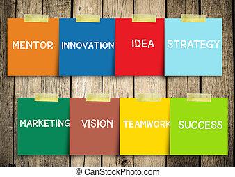 strategi, vision, begreppen, meddelande, anteckna, idé, glida, concept., innovation., partner, motivering, mentor, marknadsföra, framgång, sphere: