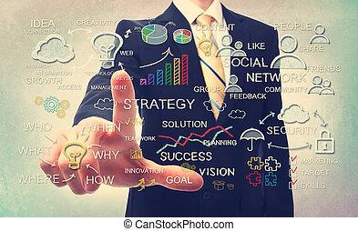 strategia affari, gesso, concetti, uomo affari, disegno