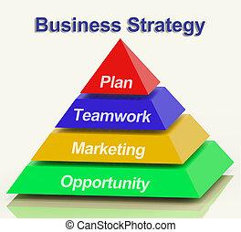 strategia affari, piramide, esposizione, lavoro squadra, e, piano