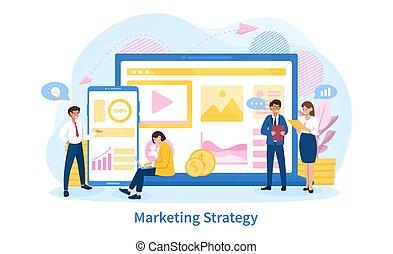 strategia, handel, pojęcie, handlowy