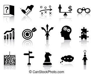 strategia, komplet, ikony, handlowy