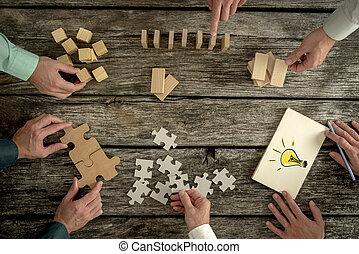 strategia, lavoro squadra, o, concetto visione, educazione