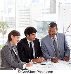 strategia, nowa sprawa, pokaz, grupa, dyskutując, rozmaitość