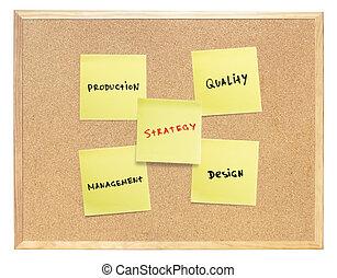 strategia, piano, di, sviluppo, products., giallo, appiccicoso, carte, su, isolato, sughero, board.