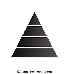 strategia, piramida, trójkąt, processes., handlowy, diagram, strony, wykres, opcje, odizolowany, ilustracja, cztery, tło., wykres, wektor, kroki, biały, układ, infographic., success.